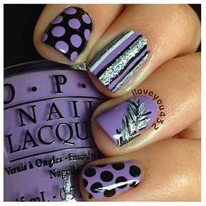 Purple black and silver nail designs nails