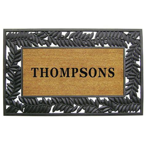 personalized door mat olive border 30 in x 48 in rubber coir personalized door