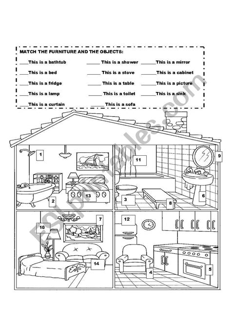 furniture  objects  house esl worksheet  ilona