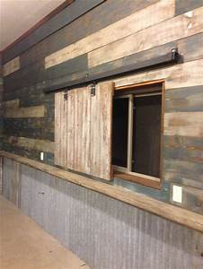my garage man cave used reclaimed barn wood and door With barnwood interior walls