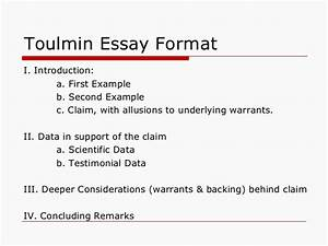 toulmin model essay topics