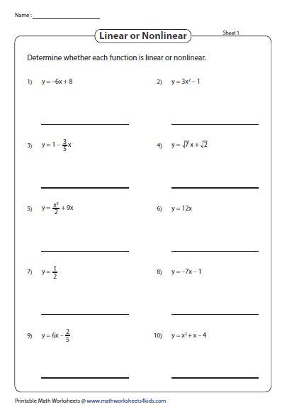 function worksheets