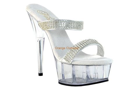Pleaser Clear & Silver Rhinestone Band Slip On Platform