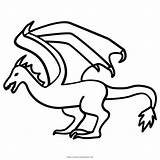 Mythical Wyvern Dragon Cockatrice Coloring Drake Icon Creatures Wivern Serpent Outlines Pages sketch template