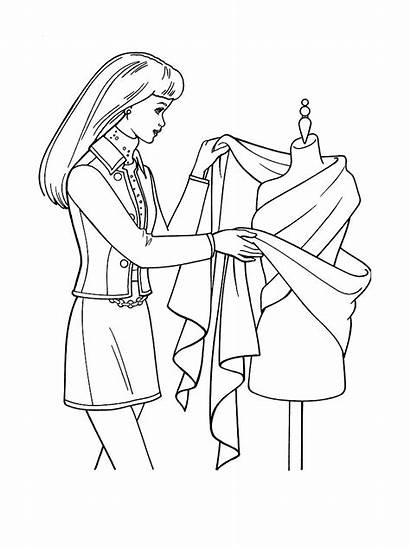 Coloring Printable Clothes Barbie Designing Colorare Kleidung