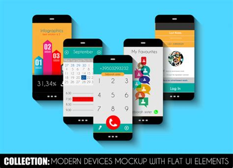 Mobile Devices Mockup With Flat Ui Elements Vector Free
