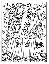 Coloring Halloween Cupcakes Adult Fun Cupcake Witch Owl Digital Printable Printables Mandala Books Sheets Skull Colouring Octopus Partie Imprimables Mickey sketch template