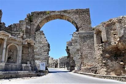Side Monumental Gate Vespasian Monument Turkish
