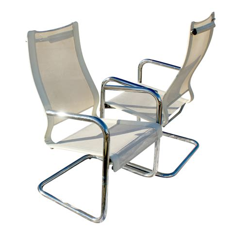 2 mid century modern chrome flex chairs ebay