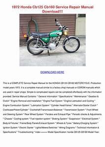 1972 Honda Cb125 Cb160 Service Repair Manual By Kimheim