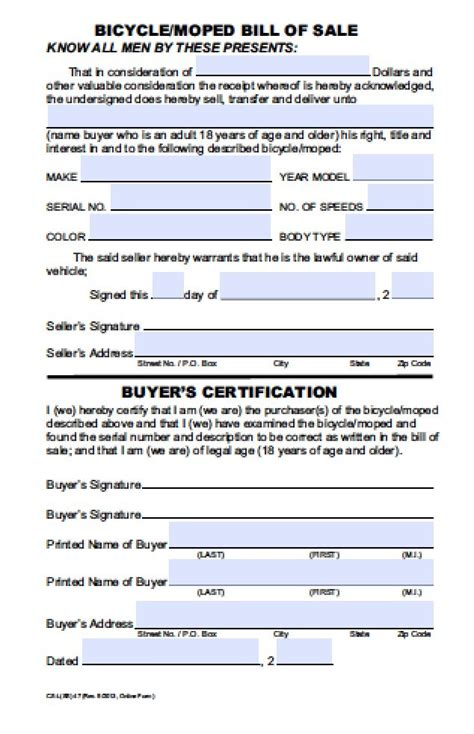 hawaii bicycle moped bill  sale form  word