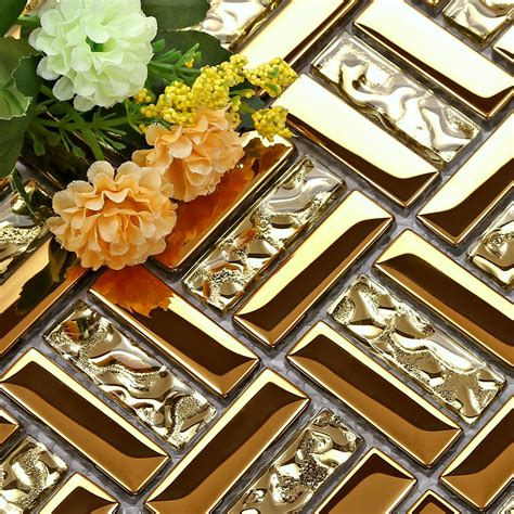 crystal glass mosaic metal tile puzzle mirror gold