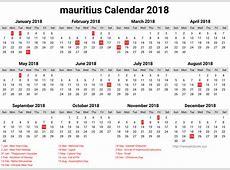 2018 New Year Mauritius Calendar Holiday Printable