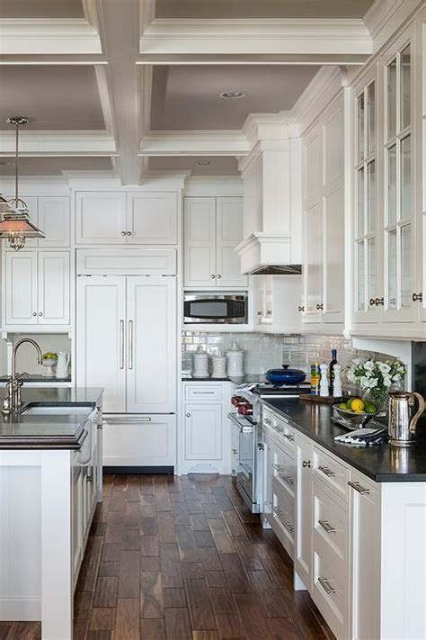 Gray Painted Coffer Ceiling   Cottage   Kitchen
