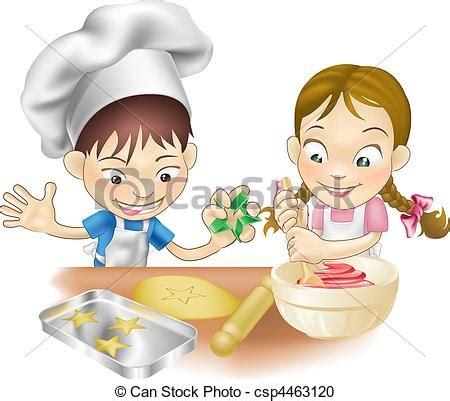 clipart vecteur de amusement avoir deux cuisine enfants une csp4463120 recherchez