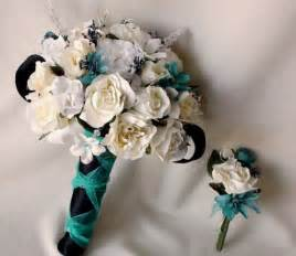 Black and Teal Silk Wedding Flowers