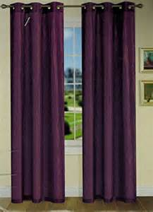 2 panels plum purple crushed wrinkle grommet faux silk