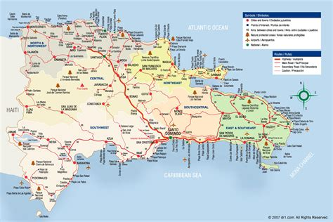 large detailed tourist map  dominican republic