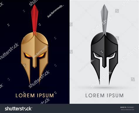 Roman Greek Helmet Spartan Helmet Head Stock Vector