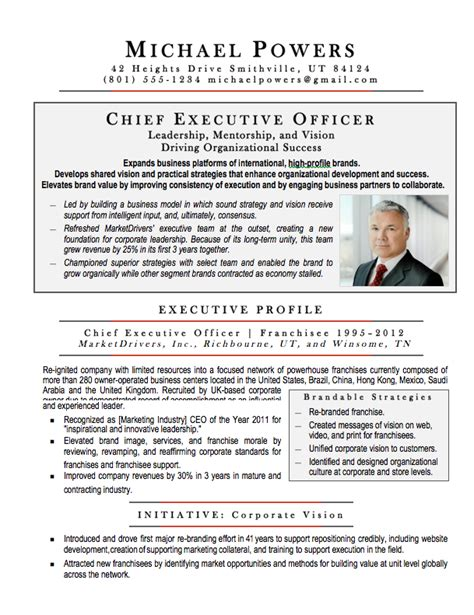 Executive Resume Page Length by Ceo Executive Resume