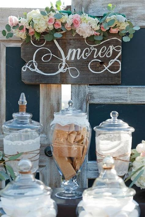sweet smores bar wedding food station ideas