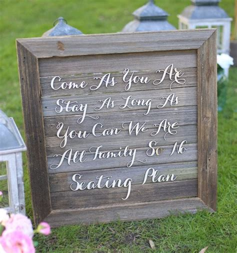 Rustic Wedding Sign No Seating Plan Old Barn Wood By