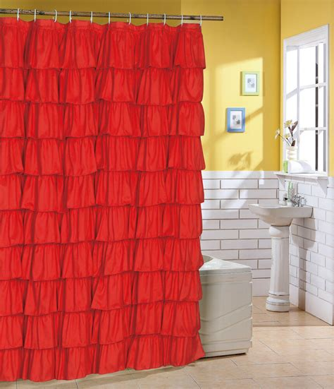 Ruffle Shower Curtain - ruffle shower curtain flamenco tiered ruffle shower