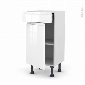 Frein De Porte De Cuisine : meuble de cuisine bas ipoma blanc brillant 1 porte 1 ~ Edinachiropracticcenter.com Idées de Décoration
