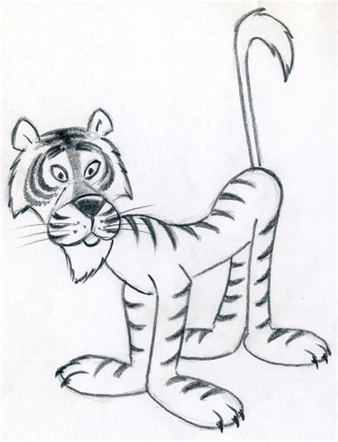draw cartoon tiger   easy steps
