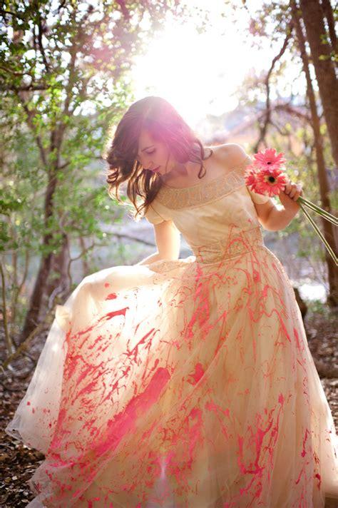 austin wedding photographers trash  dress  paint