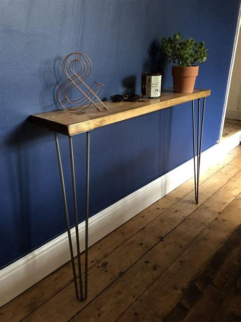 Slim Entryway Table by Scaffold Side Console Table Steel Hairpin Legs