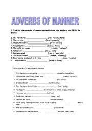 english worksheet adverbs  manner adverbs grammar