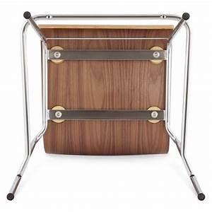 Mini Tabouret Bois : tabouret de bar design saone mini en bois et m tal chrom noyer ~ Teatrodelosmanantiales.com Idées de Décoration
