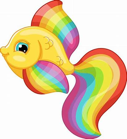 Fish Rainbow Clipart Vector Background Colors Animal