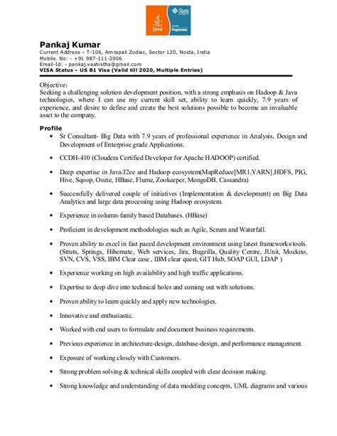 Hadoop Resume by Pankaj Resume For Hadoop Java J2ee Outside World