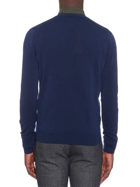 mens burberry sweater burberry v neck cotton knit sweater in blue for lyst