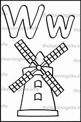 Letter Coloring Windmill Simple Outline Learning Alphabet Flashcard Site Pages Printable Getcolorings sketch template
