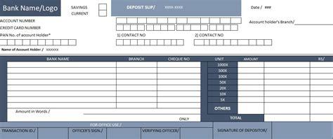 bank deposit slip template excel spreadsheet