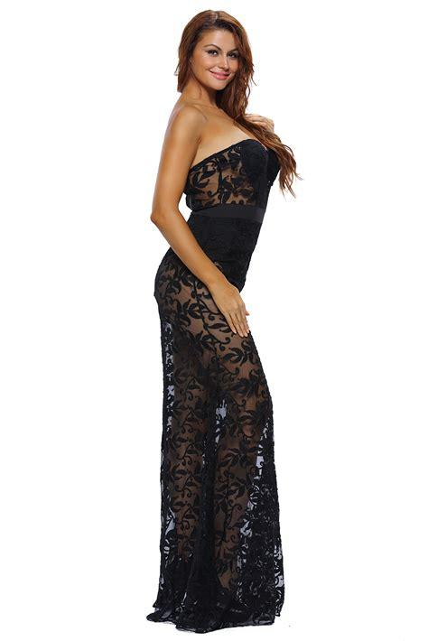 Wholesale DL Black Strapless Sheer Lace Romper Dress
