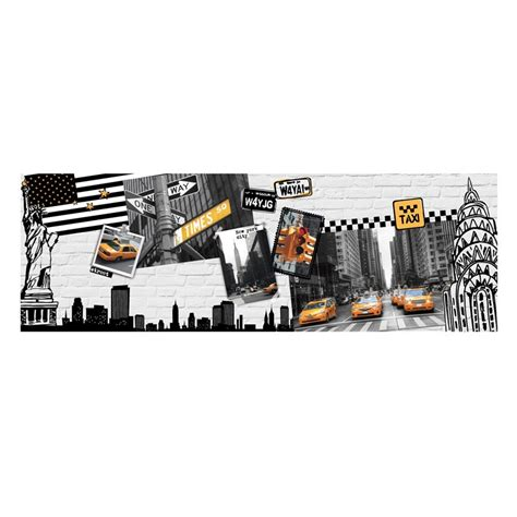 toile imprim 233 e new york 30x90cm gris