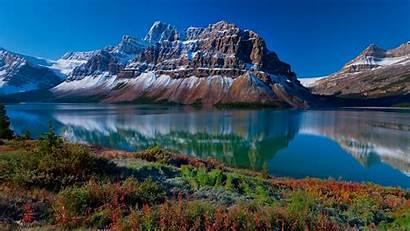 Landscape River Mountains Snow Grass Desktop Backgrounds