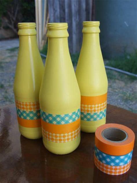 sprucing  wine bottles washi tape diy date  house