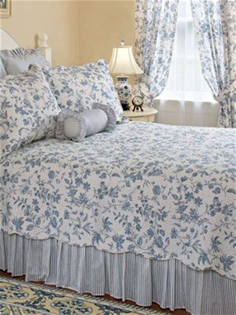 blue toile add  blue  white vertical striped bed