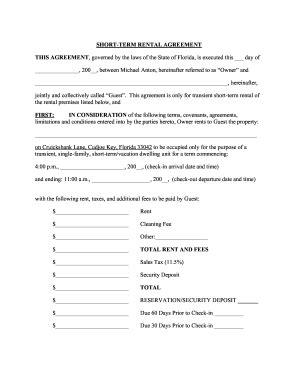 short term lease agreement template fill