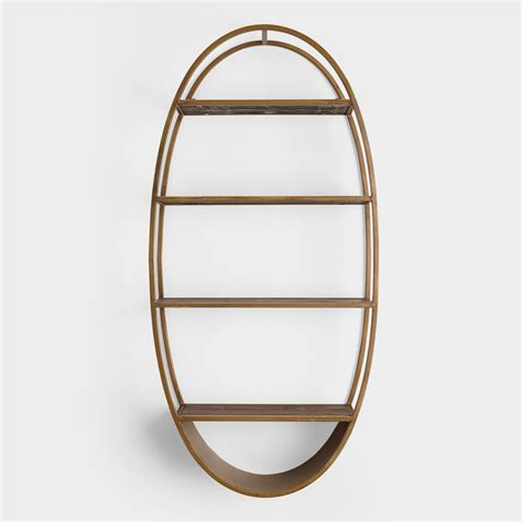 metal wall shelf oval wood and metal wall shelf world market