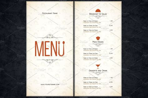 menu card template restaurant menu template card templates creative market