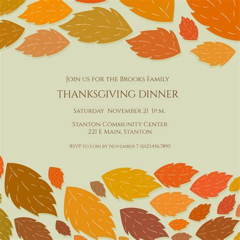 lovely leaves borders thanksgiving invitation template