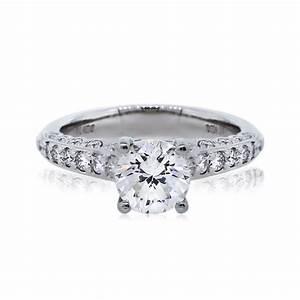 18k white gold 116ct round brilliant diamond engagement ring With round wedding rings white gold