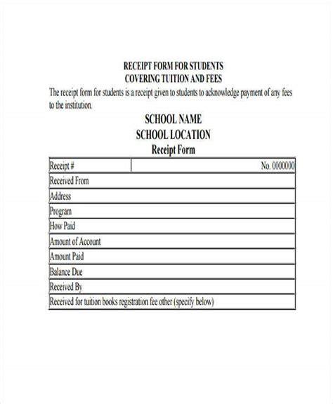 school receipt templates  sample  format