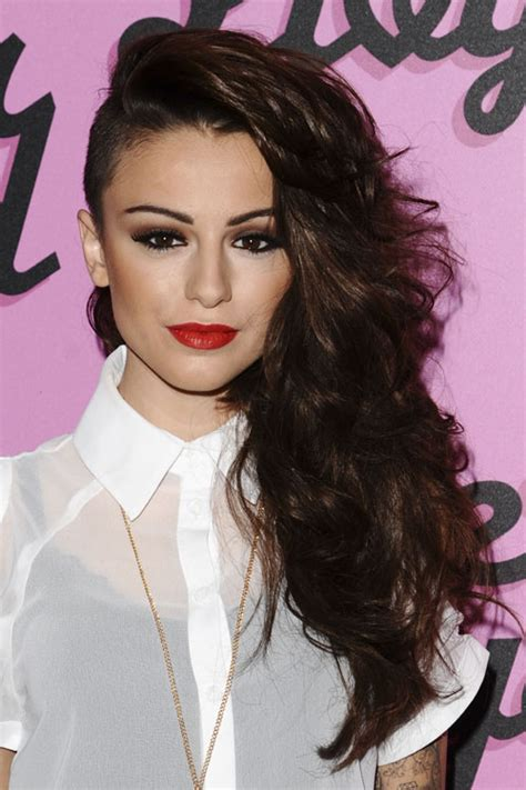 Cher Lloyd Wavy Dark Brown Side Part Undercut Hairstyle